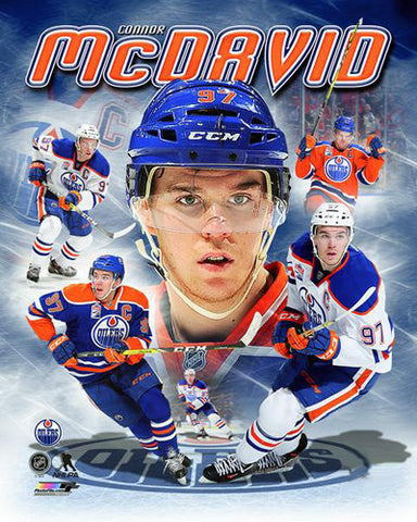 "Connor McDavid ""Hero"" Edmonton Oilers Premium Game Night Collage Poster - Photofile 16x20"