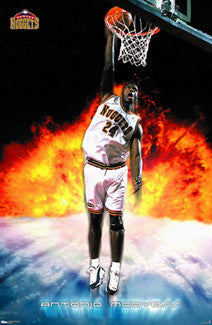 "Antonio McDyess ""Blast Off"" Denver Nuggets NBA Action Poster - Costacos 2000"