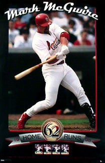 "Mark McGwire ""62"" (Home Run Record Breaker) St. Louis Cardinals Poster - Costacos 1998"