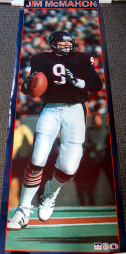 "Jim McMahon ""Big-Time"" HUGE Door-Sized Chicago Bears NFL Action Poster - Starline 1988"