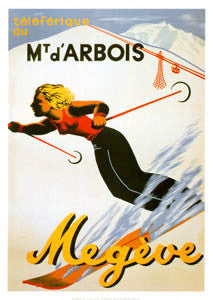 "Classic Skiing ""Mont d'Arbois, Megeve"" (1950s) Vintage Poster Reprint - Editions Clouets"