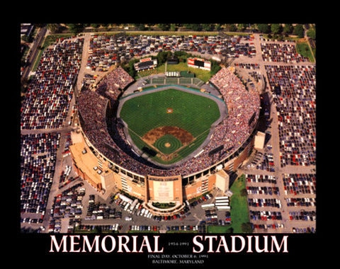 Baltimore Orioles Memorial Stadium Final Day Aerial Poster - Aerial Views 1991