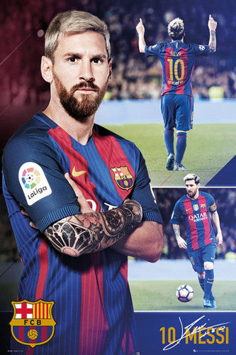 "Lionel Messi ""Legendary 10"" FC Barcelona Signature Series Football Soccer Poster - GB Eye 2017"