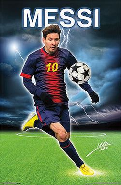 "Lionel Messi ""Relampago"" (Lightning) FC Barcelona Signature Series Poster - Costacos 2013"