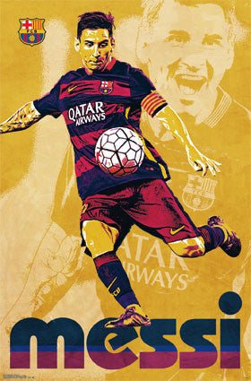 "Lionel Messi ""Retro Superstar"" FC Barcelona Soccer Action Wall Poster - Trends International"