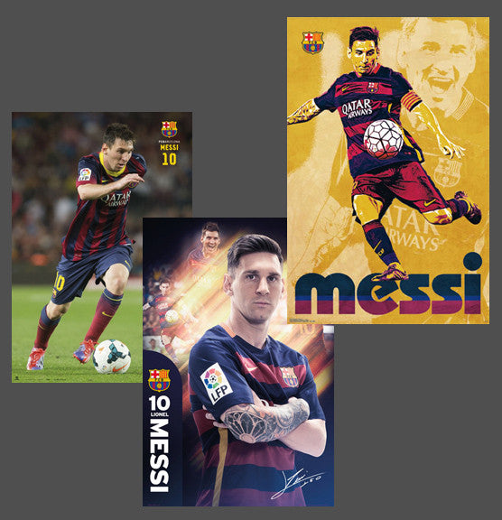 COMBO: Lionel Messi FC Barcelona Soccer Superstar Official 3-Poster Combo Set