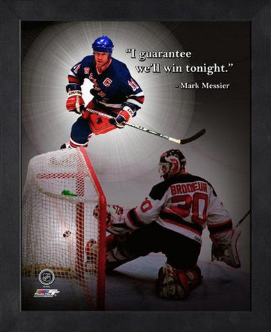 "Mark Messier ""Guaranteed Win"" New York Rangers FRAMED 16x20 PRO QUOTES PRINT - Photofile"