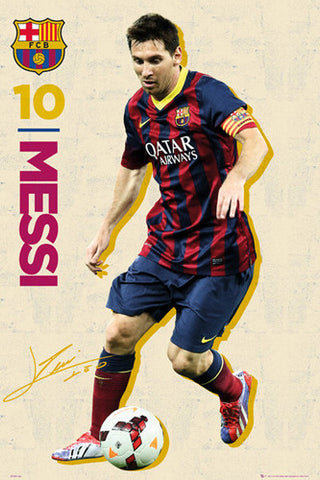 "Lionel Messi ""Retro Action"" FC Barcelona Official Soccer Poster - GB Eye 2014"