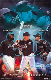 "New York Mets ""Kings of Queens"" Poster (Vaughn, Piazza, Alomar) - Starline 2002"
