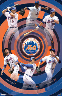 "New York Mets ""Around the Horn"" (2011) 6-Player Poster - Costacos Sports"