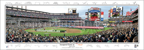 New York Mets Inaugural Game at Citi Field Panoramic Poster Print (w/Signatures) - EI 2009
