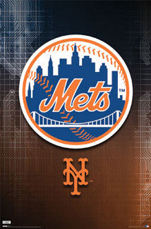 "New York Mets ""Skyline"" Official Logo Poster - Costacos Sports"