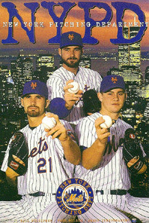"New York Mets ""NYPD"" Poster (Pulsipher, Wilson, Isringhausen) - Costacos Sports 1996"