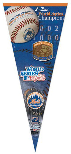 New York Mets 2-Time World Champs EXTRA-LARGE 17x40 Premium Felt Pennant - Wincraft Inc.