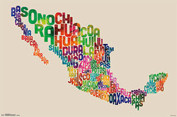 Map of Mexico Typography Text Map Wall Poster by Michael Tompsett - Trends International