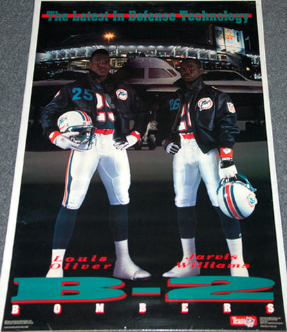 "Miami Dolphins ""B-2 Bombers"" Poster (Louis Oliver, Jarvis Williams) - Costacos Brothers 1990"