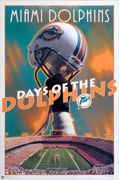 "Miami Dolphins ""Days of the Dolphins"" NFL Football Team Theme Art Poster - Costacos Brothers 1995"