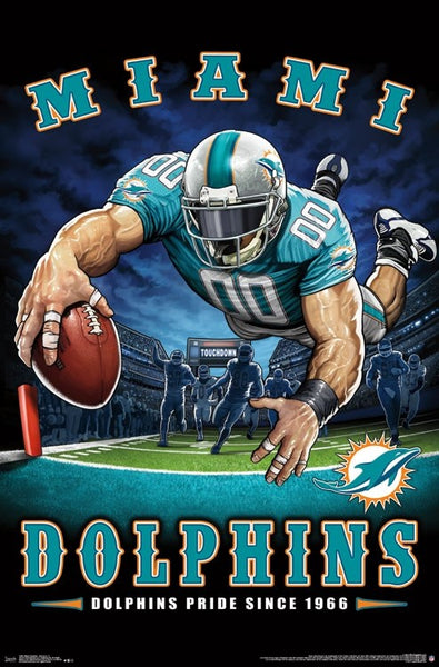 "Miami Dolphins ""Dolphins Pride Since 1966"" NFL Theme Art Poster - Liquid Blue/Trends Int'l."