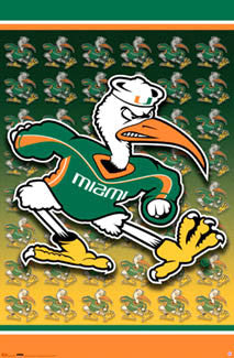 "Miami Hurricanes ""Ibis"" Official NCAA Team Logo Poster - Costacos Sports"