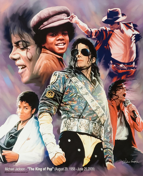 "Michael Jackson ""The King of Pop"" (1958-2009) Music Career Art Collage Poster Print - Wishum Gregory"