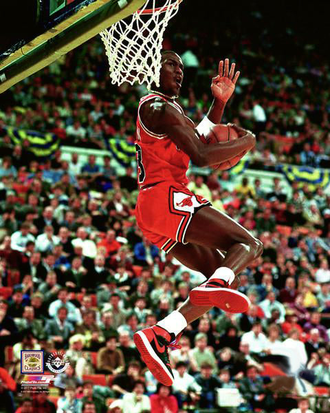 "Michael Jordan ""Slam Dunk 1985"" Chicago Bulls Premium NBA Poster Print - Photofile Inc."