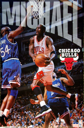 "Michael Jordan ""Drive the Lane"" Chicago Bulls NBA Action Poster - Starline 1996"