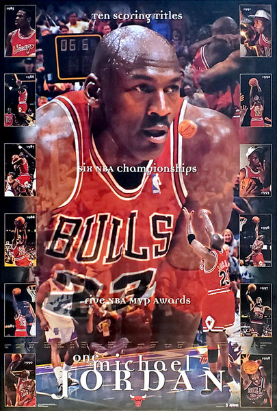 "Michael Jordan ""One Michael"" Chicago Bulls Career Retrospective Poster - Costacos 1999"