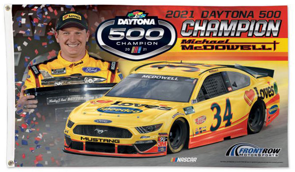 Michael McDowell 2021 Daytona 500 Champion Official NASCAR Deluxe-Edition 3'x5' Flag - Wincraft