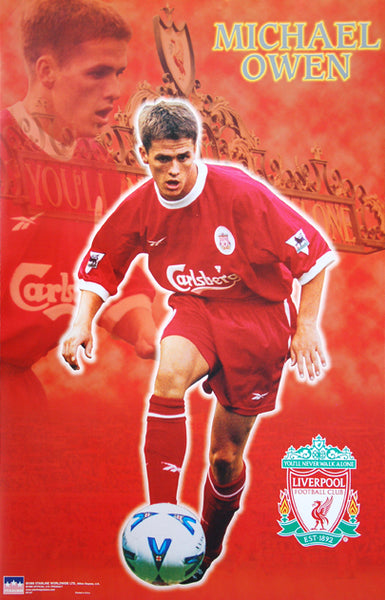 "Michael Owen ""Anfield Action"" Liverpool FC Poster - Starline 1998"