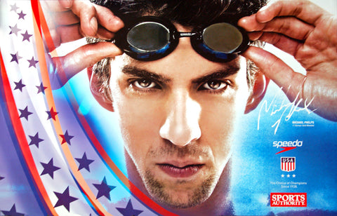 "Michael Phelps ""Ready for Gold"" USA Olympic Swimming Poster - Speedo 2008"