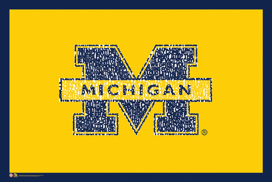 "Michigan Wolverines ""The Victors"" Official Fight Song Logo Poster"