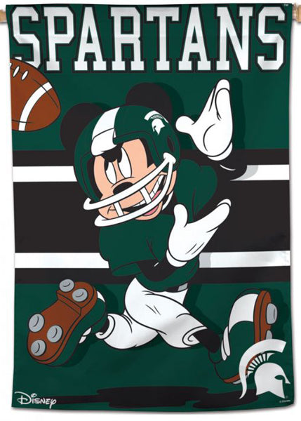 "Michigan State Spartans ""Mickey Mouse Wideout"" Official NCAA Disney Premium 28x40 Wall Banner - Wincraft Inc."