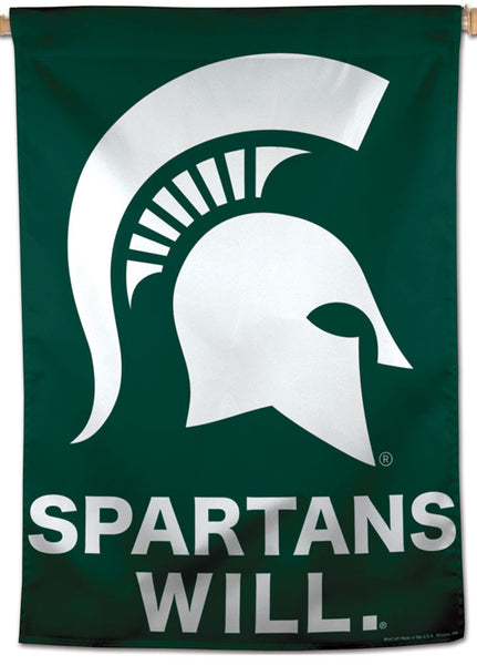 "Michigan State Spartans ""Will"" Official NCAA Team Logo Premium 28x40 Wall Banner - Wincraft Inc."
