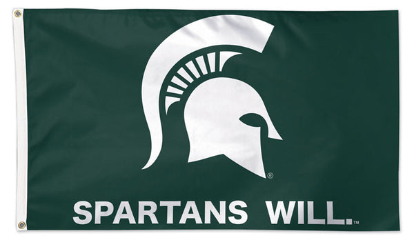 "Michigan State Spartans ""SPARTANS WILL"" Official NCAA Deluxe 3'x5' Team Flag - Wincraft"
