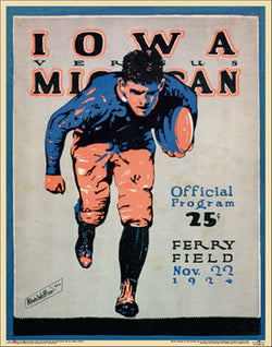 Michigan Wolverines vs. Iowa Football 1924 Vintage Program Cover Poster Reprint - Asgard Press