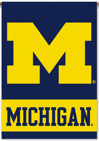 michigan wolverines official big m team logo wall banner bsi