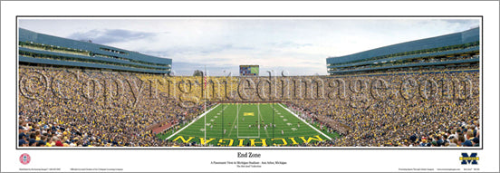 "Michigan Wolverines Stadium ""End Zone"" Panoramic Poster Print - Everlasting Images 2010"
