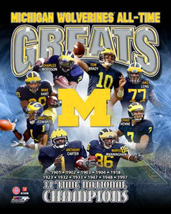 "Michigan Wolverines ""All-Time Greats"" Commemorative Print - Photofile Inc."