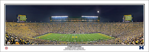 "Michigan Stadium ""Night to Remember"" (9/10/2011) Wolverines Poster Print - Everlasting Images"