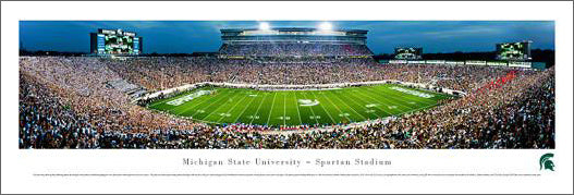 Michigan State Spartans Football Opening Night Panoramic Poster Print - Blakeway 2012