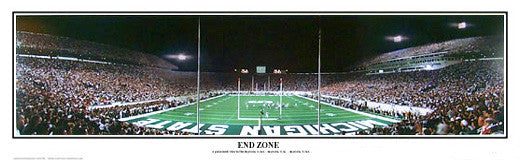 "Michigan State Spartans Football ""End Zone"" Panoramic Stadium Poster Print - Everlasting"