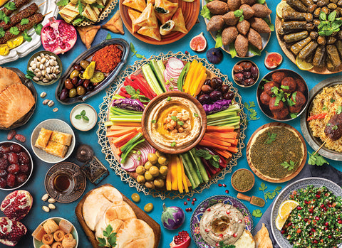 Middle Eastern Mediterranean Cuisine Food Table Kitchen Restaurant Poster - Eurographics Inc.