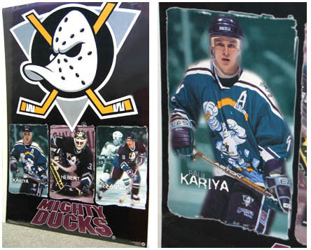 "Mighty Ducks of Anaheim ""Freeze Frames"" (Kariya, Hebert, Selanne) Poster - Costacos 1996"