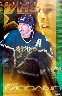 "Mike Modano ""Green-and-Gold"" Dallas Stars NHL Superstar Action Poster - Starline 2001"