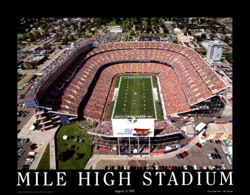 "Denver Broncos Mile High Stadium ""From Above"" Premium Poster - Aerial Views 1997"