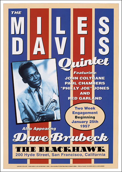 The Miles Davis Quintet at The Blackhawk 1957 Jazz Concert Poster Recreation - Jazz Age Editions c.2001