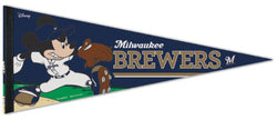 "Milwaukee Brewers ""Mickey Mouse Flamethrower"" Official MLB/Disney Premium Felt Pennant - Wincraft Inc."