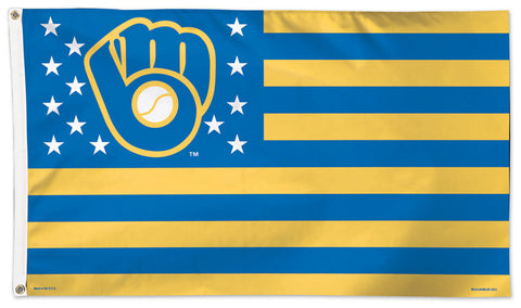 Milwaukee Brewers Stars-and-Stripes-Style Official MLB Baseball DELUXE 3'x5' Team Flag - Wincraft Inc.