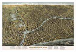 Milwaukee, Wisconsin 1872 Classic Aerial Map Premium Poster Print - McGaw Graphics