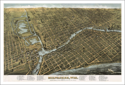 Milwaukee, Wisconsin 1872 Classic Aerial Map Premium Poster Reproduction - McGaw Graphics